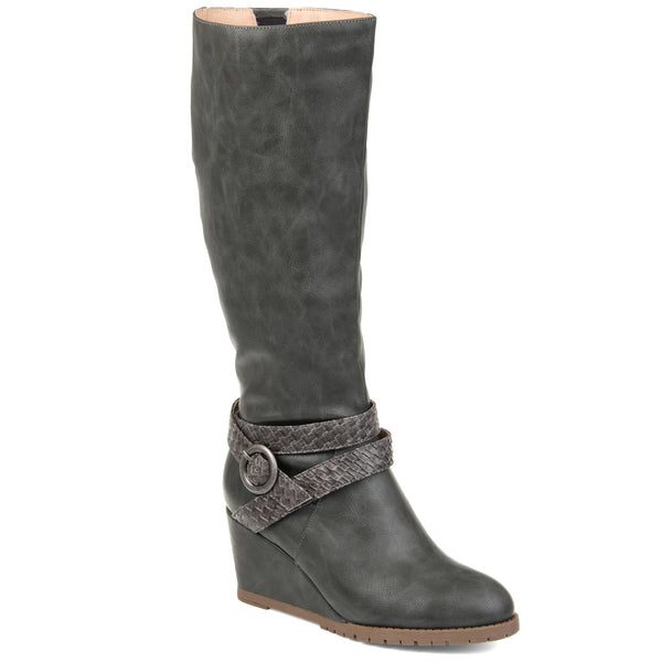 Braided Buckle Strap Wedge Boot Wide Calf