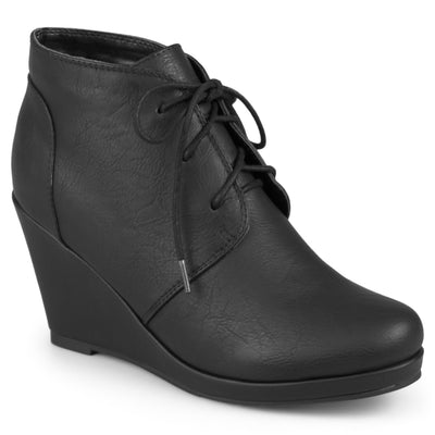 Lace-up Vegan Wedge Booties