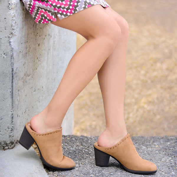 Faux Suede Whipstitch High Heel Mules