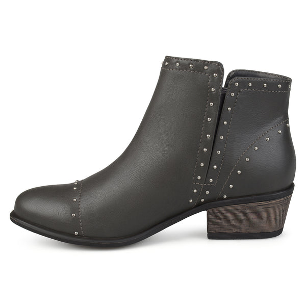 Studded Stacked Heel Ankle Boots