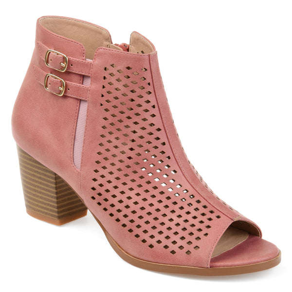 Open Toe Laser Cut Heeled Bootie