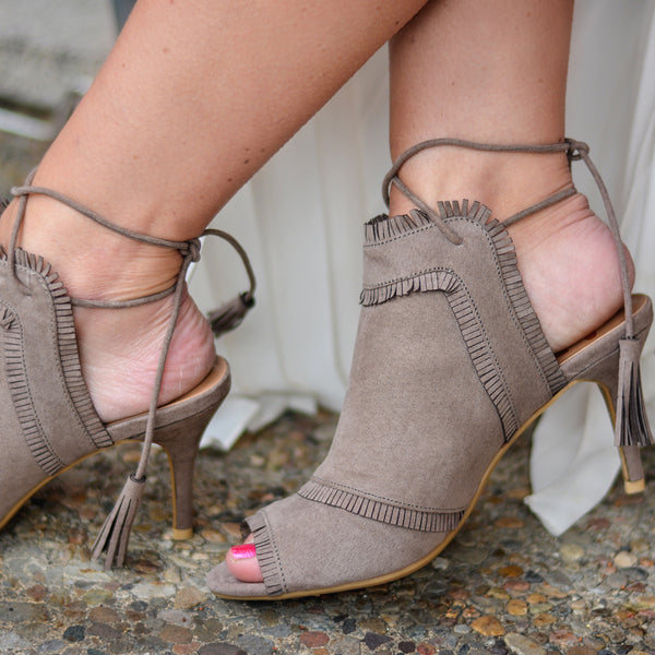 Tassle Open Toe Fringe High Heels