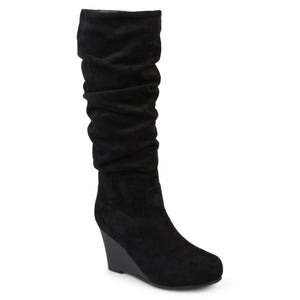 f4f89f15868e Wide Calf Slouch Faux-Suede Wedge Boot