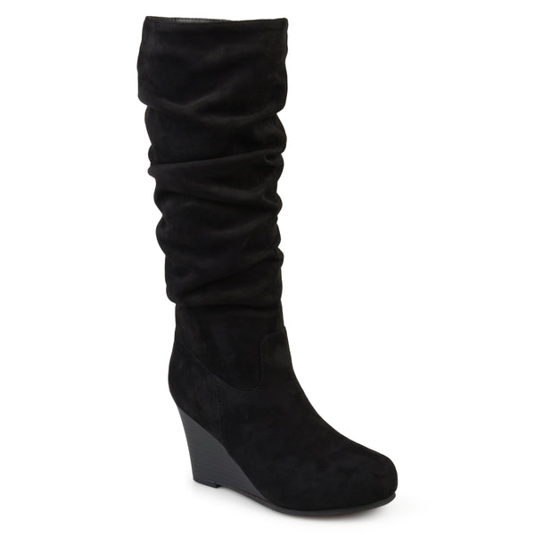 Wide Calf Slouch Faux-Suede Wedge Boot