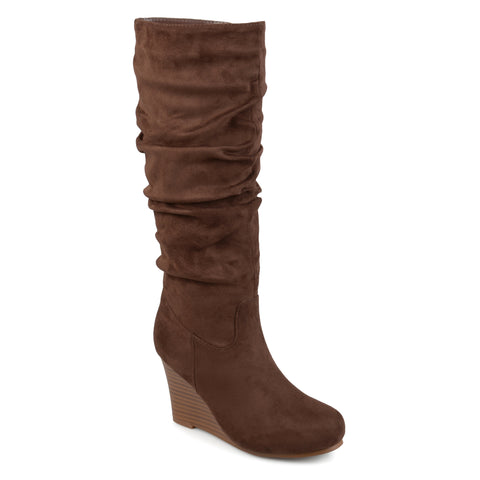 Slouchy Mid-calf Wedge Boots