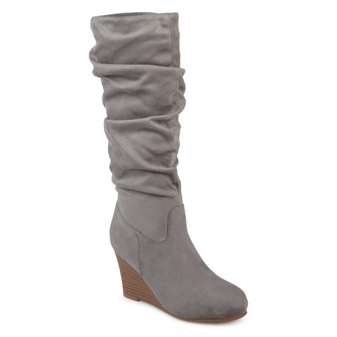 Slouch Faux-Suede Wedge Boot