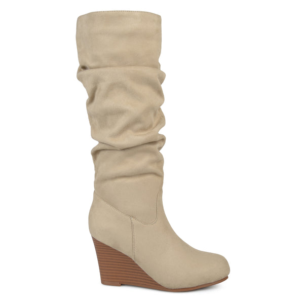 Slouch Faux-Suede Wedge Wide Calf Boot