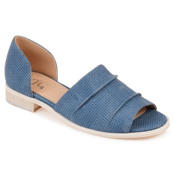 Ruched Open-Toe Flat