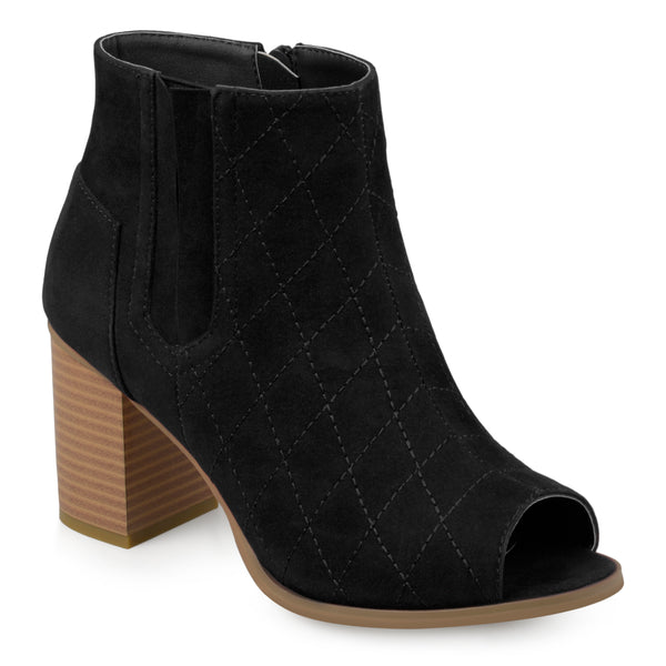 Quilted Open-toe Heeled Booties