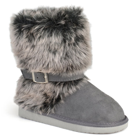 Buckle-Strap Faux Fur Boots