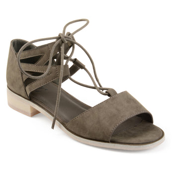 Criss-cross Lace-up Faux Nubuck Sandals
