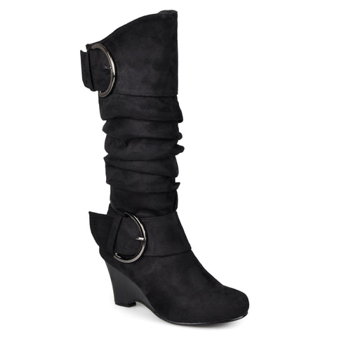 X-Wide Calf Slouch Wedge Knee-High Boot