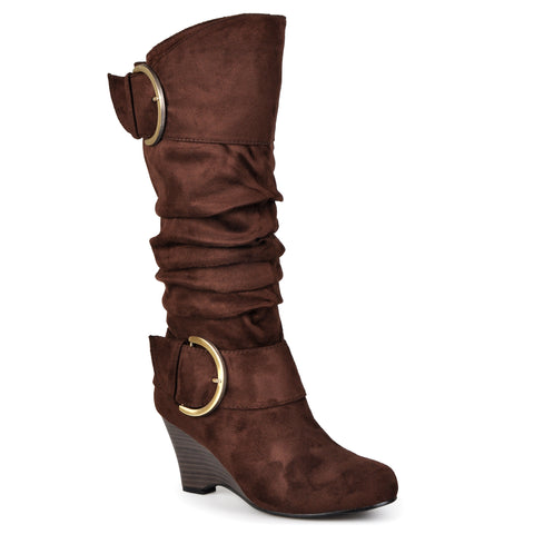 Buckle Slouch Wedge Knee-High Boot