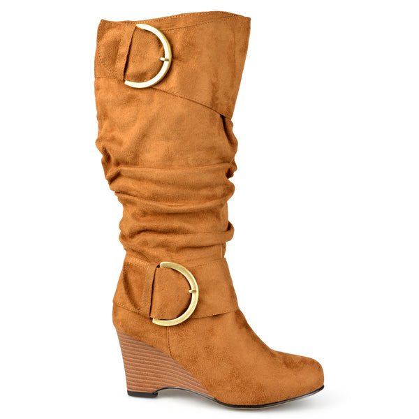 Wide Calf Slouch Wedge Knee-High Boot