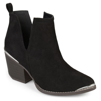 Side Slit Stacked Wood Heel Booties
