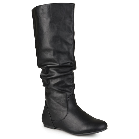 Extra Wide Calf Mid-Calf Slouch Riding Boots