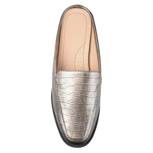 Croc Pattern Square Toe Comfort-sole Slide Mules