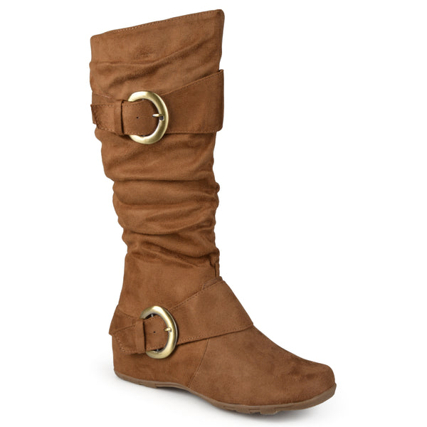 Wide Calf Slouch Knee-High Microsuede Boot