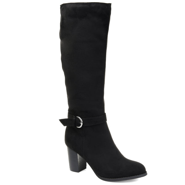 Ankle Buckle Accent Heeled Boot Extra Wide Calf