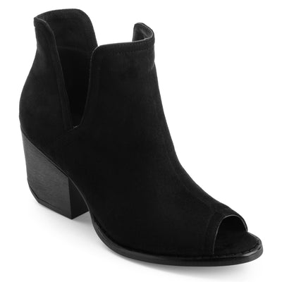 Peep-toe Side-slit Ankle Booties
