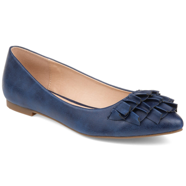 Tri-Ruffle Pointed Toe Flat