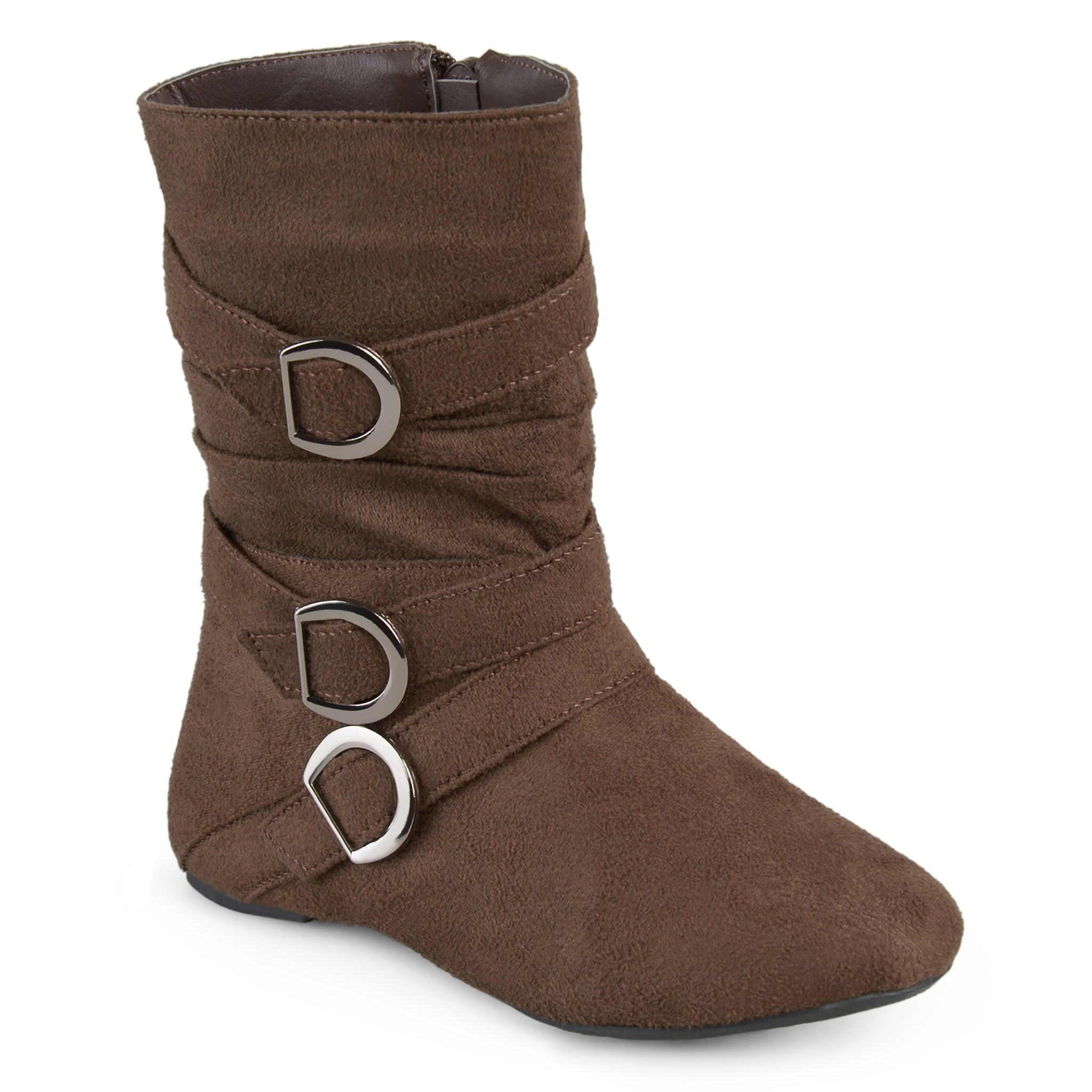 Buckle-Strap Suede Boots