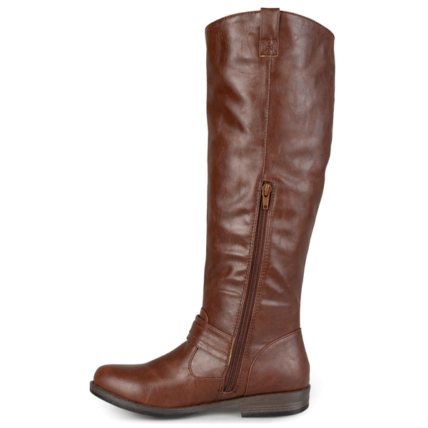 Wide Calf Ankle-Strap Square-Buckle Riding Boot