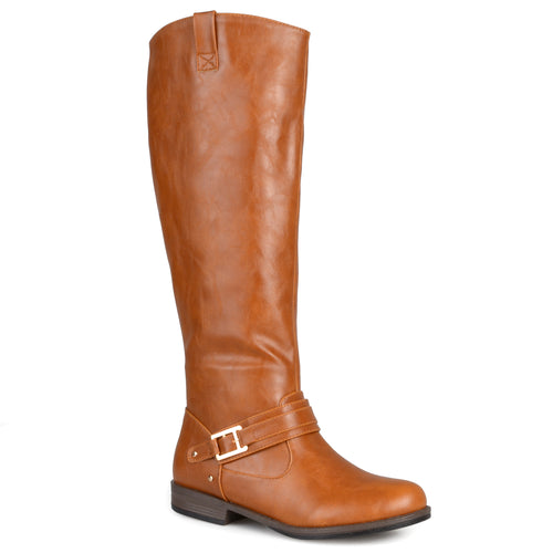 Ankle-Strap Square-Buckle Riding Boot