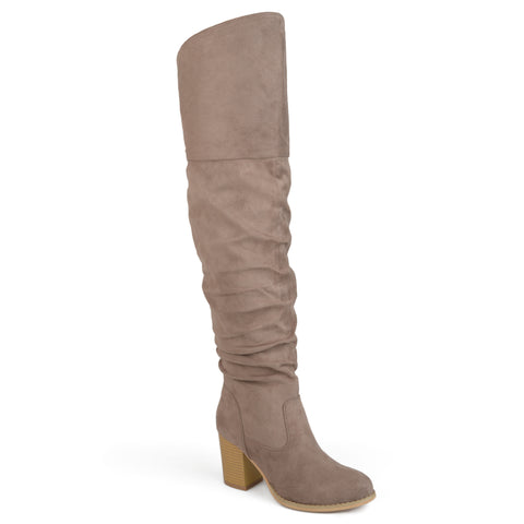 Over-the-knee Ruched Stacked Heel Boots