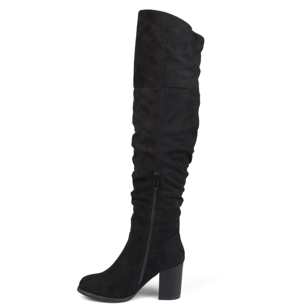 Ruched Over-The-Knee Heeled Wide Calf Boot