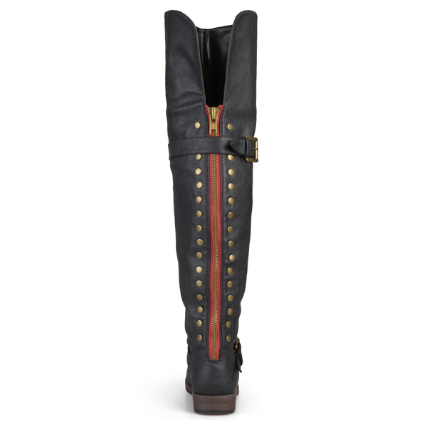 Studded Over-the-knee Buckle Boots
