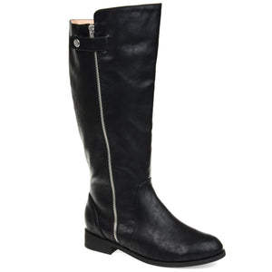 Silver Snap Zipper Riding Boot