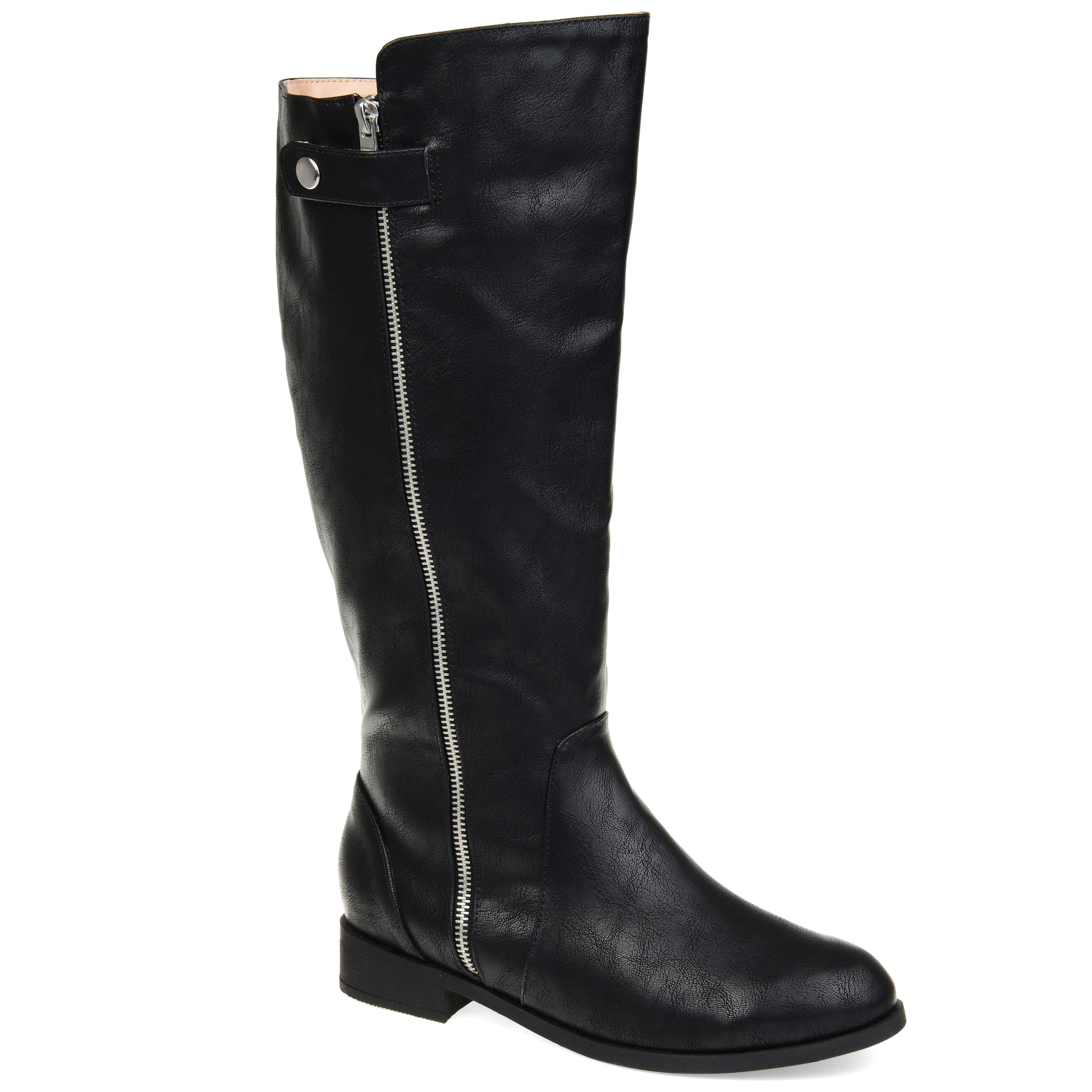 Silver Snap Zipper Riding Boot Extra Wide Calf