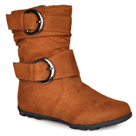 Buckle-Strap Mid-calf Riding Boots