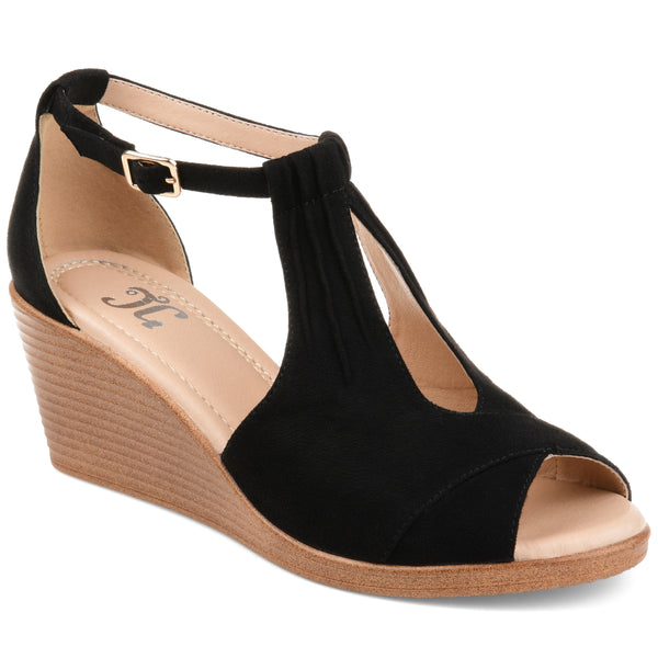 Open Toe Buckle Comfort Wedge