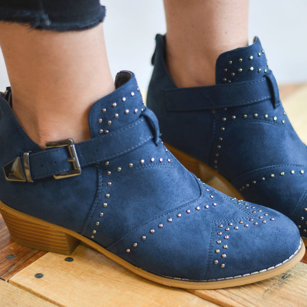 Studded Decorative Ankle Strap Booties