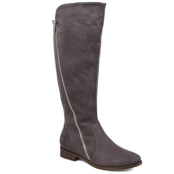 Diagonal Zipper Suede Boot Extra Wide Calf