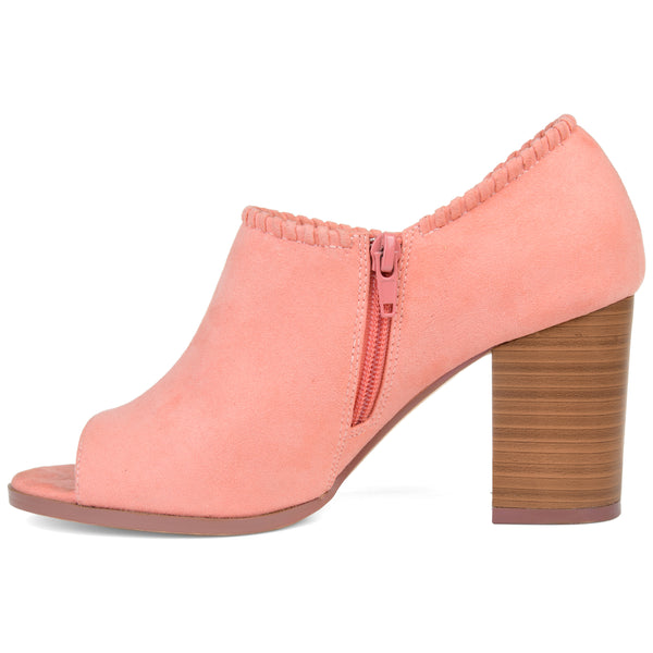 Peep-Toe Braided Edge Bootie