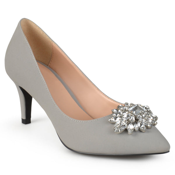 Pointed Toe Jewel Cluster Pumps