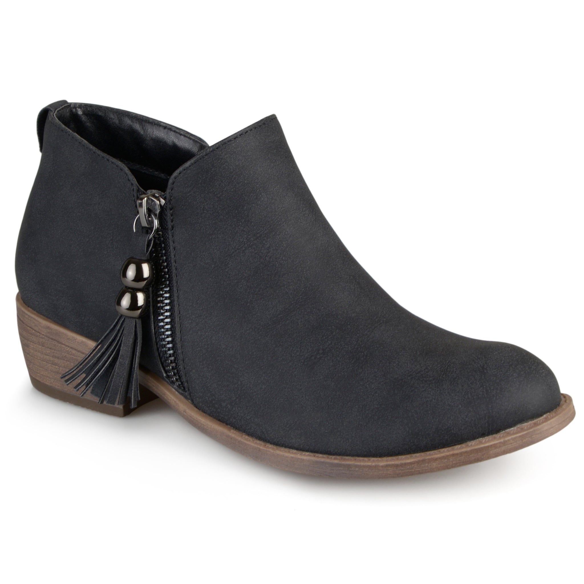 Faux Leather Zipper Ankle Boots