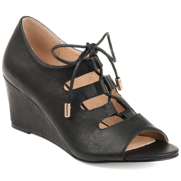 Open Toe LaceUp and Cutout Wedge