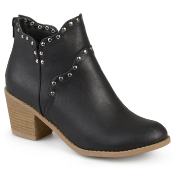 Faux Leather Studded Boots