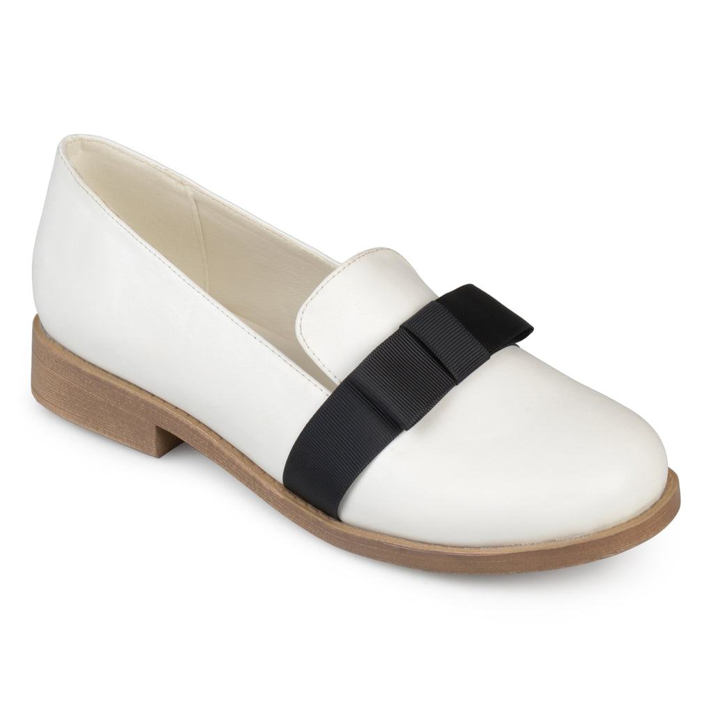 Faux Leather Bow Loafer Flats