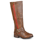 Tall Buckle Zipper Riding Boot