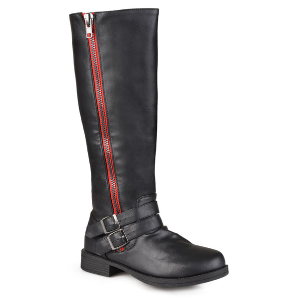 Wide Calf Tall Buckle Zipper Riding Boot