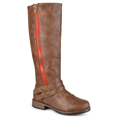Wide-Calf Side-Zipper Buckle Knee-High Riding Boot