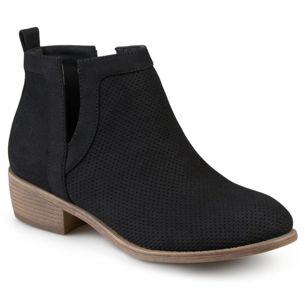 Round Toe Pinhole Faux Suede Boots