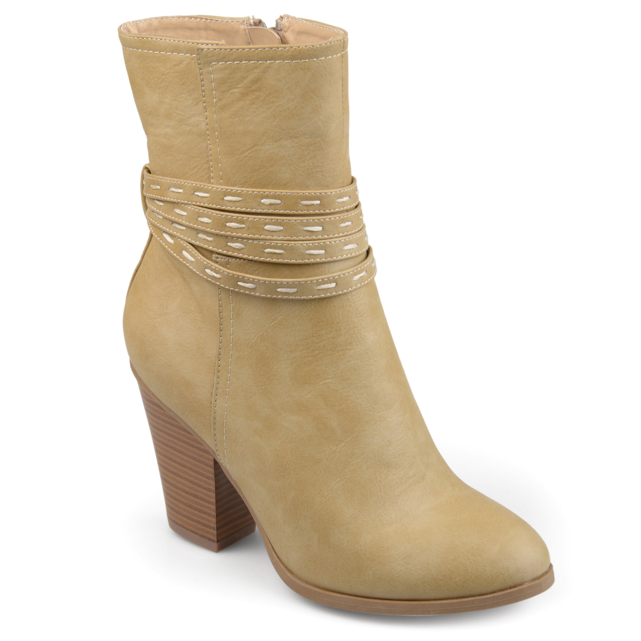 Mid-Calf Faux Leather Heeled Bootie
