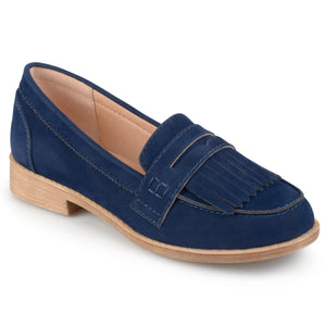 Faux Suede Fringed Loafers
