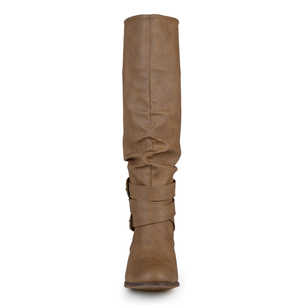 Slouchy Buckle Heeled Wide Calf Boot